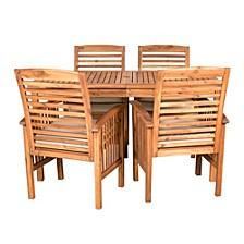 Acacia Wood Simple Patio 5-Piece Dining Set - Brown