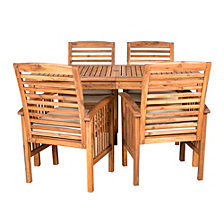 Outdoor Classic Contemporary Acacia Wood Simple Patio 5-Piece Dining Set - Brown