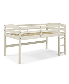 Solid Wood Low Loft Twin Bed - White