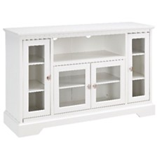 "52"" Wood Highboy TV Media Stand Storage Console - White"