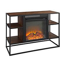 "40"" Rustic Metal and Wood Open-Shelf Fireplace TV Stand Storage Console - Dark Walnut"