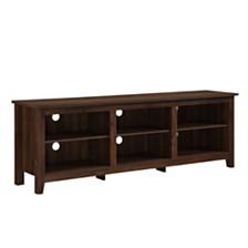 "70"" Wood Media TV Stand Storage Console - Dark Walnut"