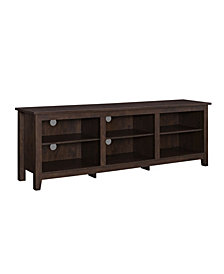"70"" Wood Media TV Stand Storage Console - Traditional Brown"