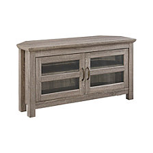 "44"" Farmhouse Wood Corner Media TV Stand Storage Console - Driftwood"