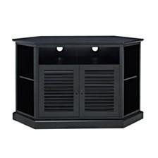 "52"" Wood Corner TV Media Stand Storage Console - Black"