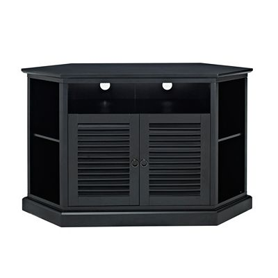 Walker Edison 52 Wood Corner Tv Media Stand Storage Console Black