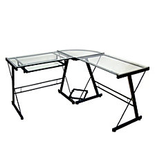 "51"" Contemporary Metal and Glass L-Shaped Corner Home Office Computer Desk with CPU Stand - Multi"