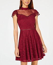 City Studios Juniors' Swiss Dot Lace Fit & Flare Dress