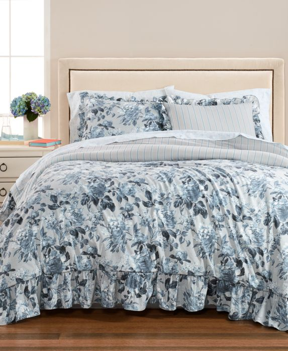 CLOSEOUT! Martha Stewart Collection Floral Rouching 8-Pc. Queen Comforter Set, Blue, Size: Queen