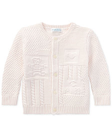 Ralph Lauren Baby Girls Contrast-Knit Cotton Cardigan