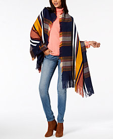 Vince Camuto Racing Stripe Plaid Blanket Wrap
