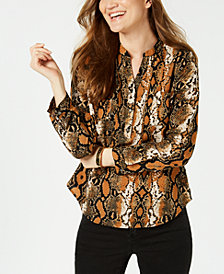 NY Collection Petite Snakeskin-Print Pleated Top