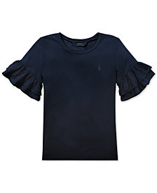 Polo Ralph Lauren Big Girls Ruffled-Sleeve Crew-Neck T-Shirt