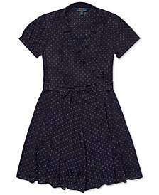 Polo Ralph Lauren Big Girls Polka-Dot Ruffled Crepe Dress
