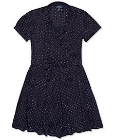 Polo Ralph Lauren Big Girls Polka-Dot Ruffled Crepe Dress