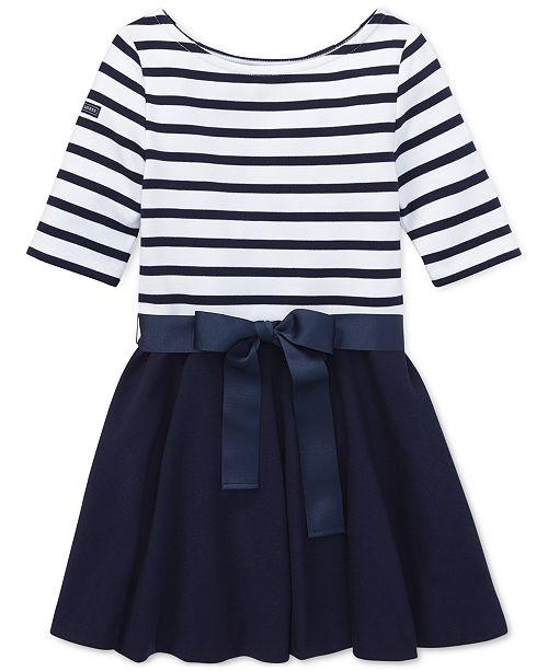 Polo Ralph Lauren Big Girls Striped Jersey-Ponté Knit Dress