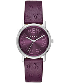 DKNY Women's SoHo Port Purple Leather Strap Watch 34mm, Created for Macy's