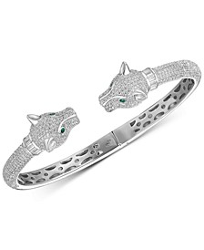Cubic Zirconia Panther Head Cuff Bangle Bracelet in Sterling Silver