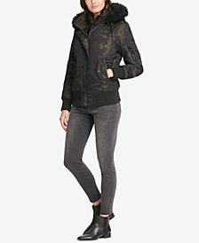 DKNY Faux-Fur-Trim Camo-Print Bomber Coat, Created for Macy's