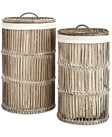 Libby Rattan Storage Hamper with Liner, Set of 2, Quick Ship