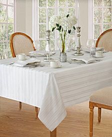 Elrene Denley Stripe White Table Linen Collection