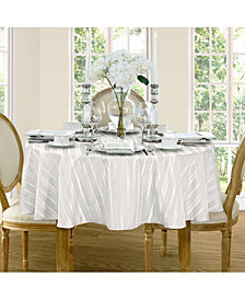 "Elrene Denley Stripe White 70"" Round Tablecloth"