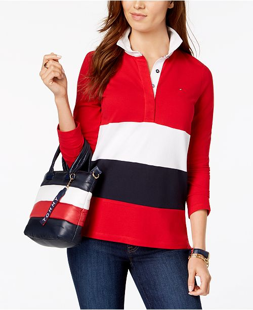 0dbd8624eff Tommy Hilfiger Striped Rugby Top, Created for Macy's & Reviews ...