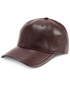 I.N.C. Men's Faux-Leather Cap, Created for Macy's