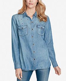 Jessica Simpson Juniors' Petunia Denim Button-Front Shirt