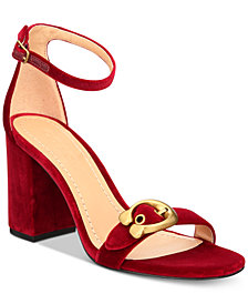 COACH Maya Signature Buckle Velvet Sandals