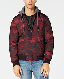 American Rag Men's Tonal Camouflage Hooded Bomber Jacket, Created for Macy's