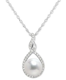 "Cultured Freshwater Pearl (7mm) & Diamond (1/10 ct. t.w.) Pendant Necklace in 14k White Gold, 16"" + 2"" extender"