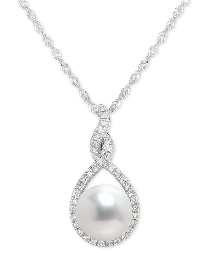 """Macy's - Cultured Freshwater Pearl (7mm) & Diamond (1/10 ct. t.w.) Pendant Necklace in 14k White Gold, 16"""" + 2"""" extender"""