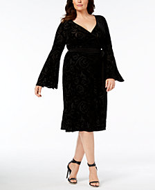 Calvin Klein Plus Size Bell-Sleeve Dress
