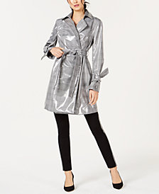 I.N.C. Patent Plaid Trench Coat, Created for Macy's