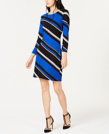 I.N.C. Diagonal-Striped Shift Dress, Created for Macy's