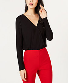 I.N.C. Long-Sleeve Surplice Bodysuit, Created for Macy's
