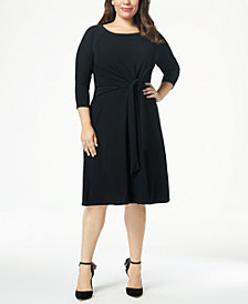 Taylor Plus Size A-line Self-Tie Dress