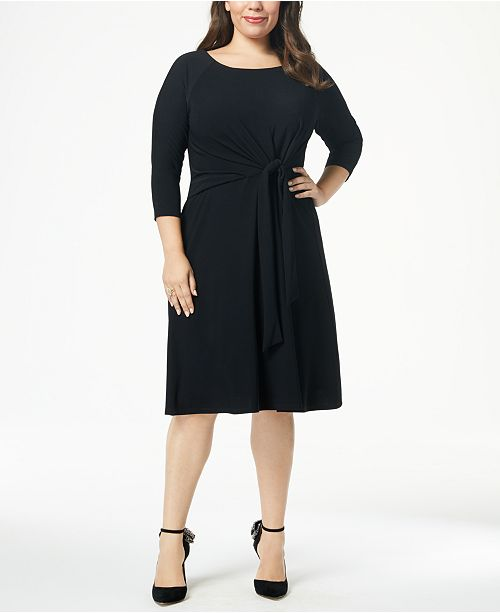 Taylor Plus Size A Line Self Tie Dress Dresses Women Macys