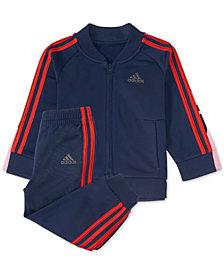adidas Little Boys 2-Pc. Black Tricot Track Suit