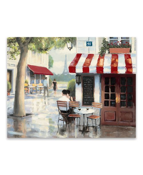 "Artissimo Designs Relaxing At The Cafe Printed Canvas Art - 28"" W x 22"" H x 1.25"" D"