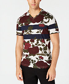 American Rag Men's Striped Floral T-Shirt, Created for Macy's