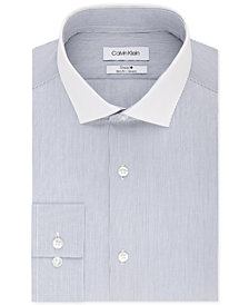 Calvin Klein Men's STEEL Slim-Fit Non-Iron Performance Stretch Blue Stripe Dress Shirt