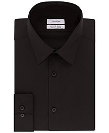 Calvin Klein Men's STEEL Slim-Fit Non-Iron Performance Stretch Jade Black Dress Shirt