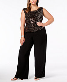 R & M Richards Plus Size Sequined Jumpsuit