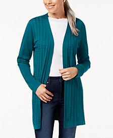 Karen Scott Pointelle Open-Front Cardigan, Created for Macy's