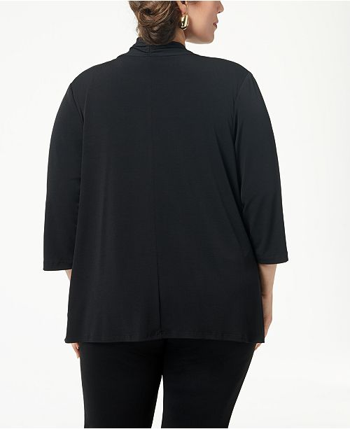 Cardigan Connected Size Plus Sweater Black E44q6w