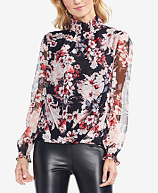 Vince Camuto Smocked Mock-Neck Top