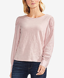 Vince Camuto Cotton Smocked-Shoulder Top