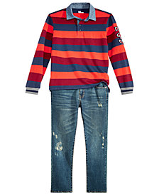 Epic Threads Big Boys Rugby Shirt & Denim Jeans Separates, Created for Macy's